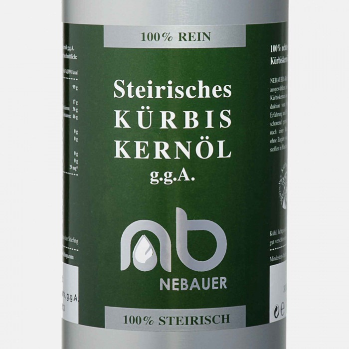 NEBAUERs Styrian pumpkin seed oil P.G.J. 500 ml can