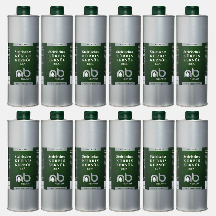 TWELVE PACK - NEBAUERs Styrian Pumpkin seed oil P.G.J. 1 liter can