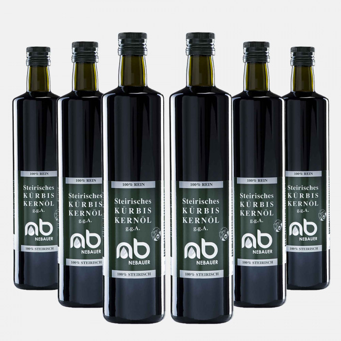 SIX PACK - NEBAUERs Styrian pumpkin seed oil P.G.J. 750 ml