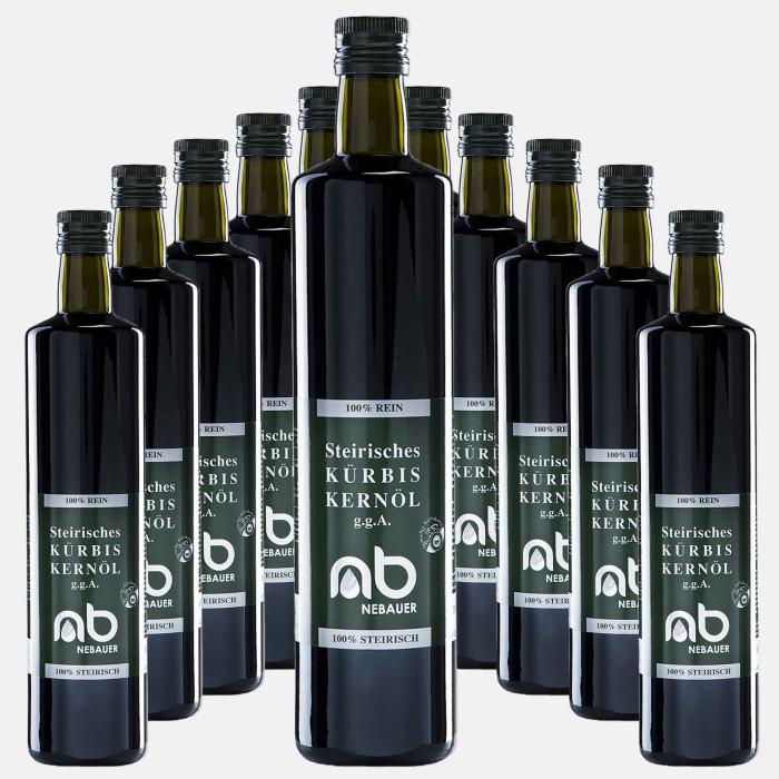12er Pack - NEBAUERs steirisches Kürbiskernöl g.g.A. - 750 ml Doricaflasche