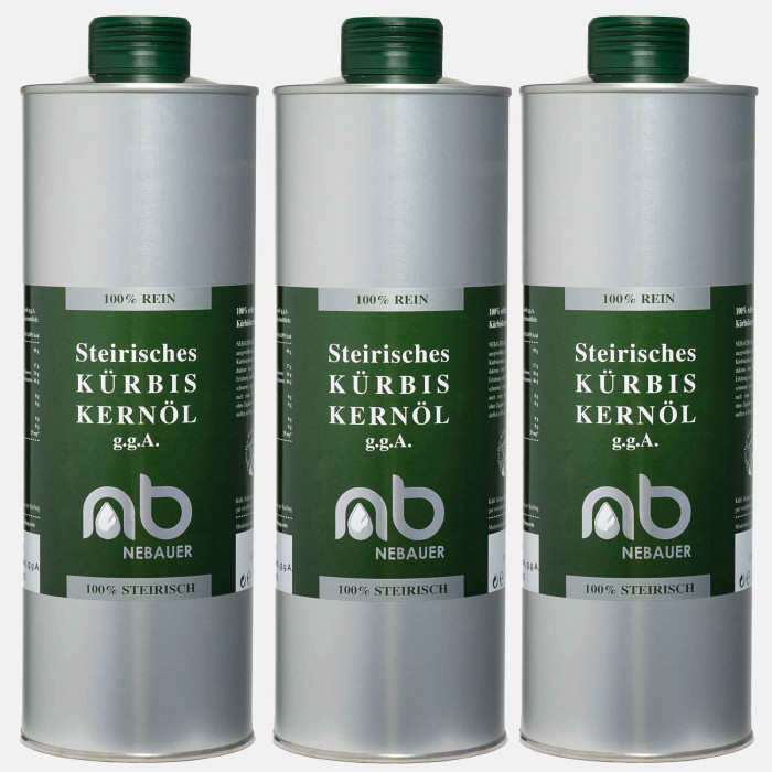 THREE PACK - NEBAUERs Styrian Pumpkin seed oil P.G.J. 1 liter can
