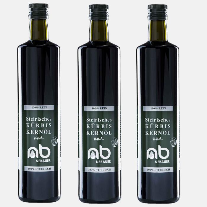THREE PACK - NEBAUERs Styrian pumpkin seed oil P.G.J. 750 ml